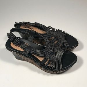 Earth Paradise Leather Wedge Sandals Women 7 B
